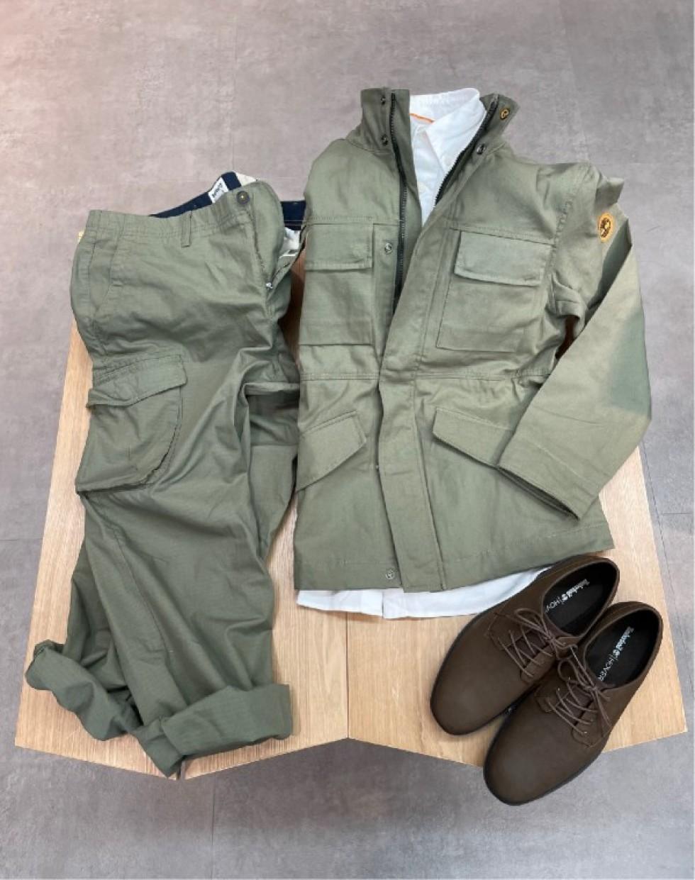 ヘリテージM65ジャケット/ヘリテージクラシックカーゴパンツ/ソーヤーレーンウォータープルーフオックスフォードシューズ
